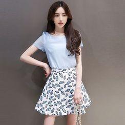 Maine - Set: Short-Sleeve Chiffon Top + Print A-Line Skirt