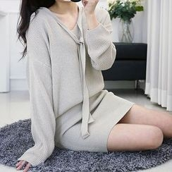 Seoul Fashion - Tie-Front Tube-Hem Knit Dress