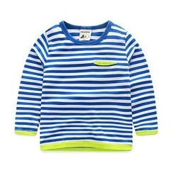 WellKids - Kids Long-Sleeve Contrast-Trim Striped Top