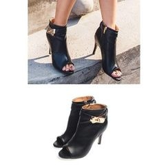 migunstyle - Metallic High-Heel Ankle Boots