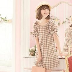 Tokyo Fashion - Short-Sleeve Bow-Accent Check Dress