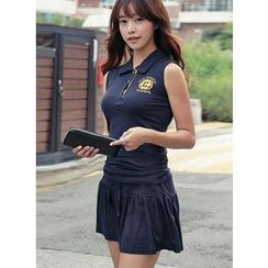 HOTPING - Set: Sleeveless Polo Shirt + Inset Shorts Skirt