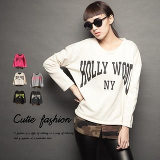 CUTIE FASHION - Camouflage Shirt-Hem Printed Sweatshirt