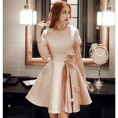 Lovi - Corsage Short-Sleeve Bridesmaid Dress