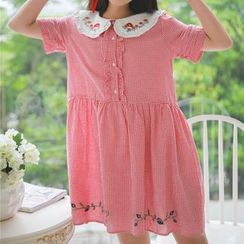 Moricode - Embroidered Check Short-Sleeve Babydoll A-Line Dress