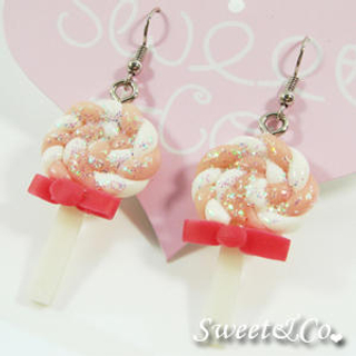 Sweet & Co. - Sweet Pink Candy Lollipop Glitter Earrings