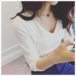 氣質淑女 - 純色V領長袖T恤