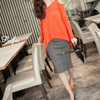 PUFII - High-Waist Knit Skirt with Back Slit