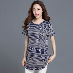 Eloqueen - Short-Sleeve Patterned Long Top