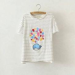 Aigan - 短袖印花条纹T恤