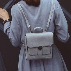 Clair Fashion - 韓版復古PU皮革扣鎖多功能後背包