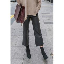 PPGIRL - Faux-Leather Wide-Leg Pants