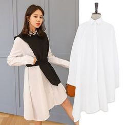 PPGIRL - Asymmetric-Hem A-Line Long Shirt