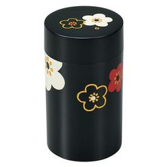 Hakoya - Hakoya Tea Caddy Large Hanamonyou Ume Black