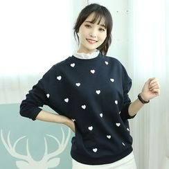 Dodostyle - Heart Patterned Frilled-Neckline Pullover