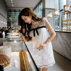 Dabuwawa - Frilled-Trim Bow-Accent A-Line Dress