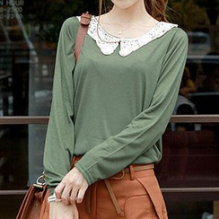 CLICK - Laced Collar Long-Sleeve Top