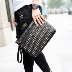 BagBuzz - Studded Faux Leather Clutch