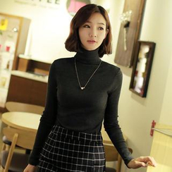 CLICK - Turtleneck Ribbed Top