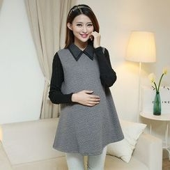 Ceres - Maternity Long-Sleeve Mock Two Piece Dress