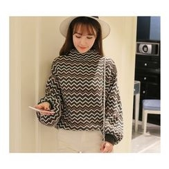 anzoveve - Puff Sleeve Zigzag Knit Top