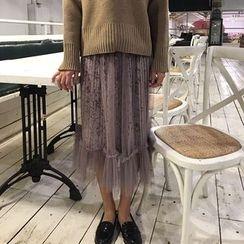 ALIN STYLE - 网纱底衬丝绒中长裙