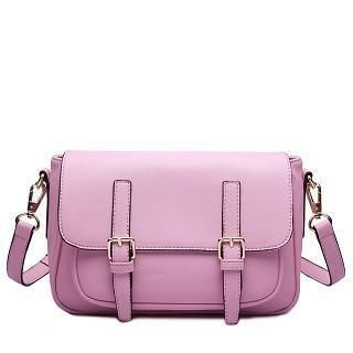 MBaoBao - Faux-Leather Flap Buckled Cross Bag
