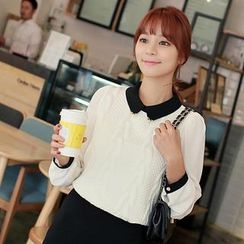 CLICK - Cable Knit Panel Chiffon Blouse