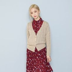 Envy Look - V-Neck Cable-Knit Cardigan