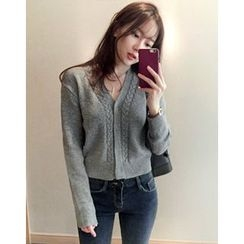 UPTOWNHOLIC - V-Neck Wool Blend Cardigan