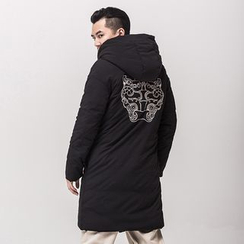 Ashen - Embroidered Hooded Long Coat