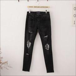 Maymaylu Dreams - 牛仔裤。魅力黑灰割破小直筒裤