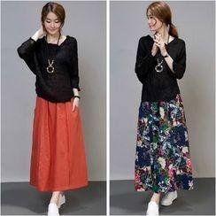 Diosa - Set: Long-Sleeve Top + Maxi Skirt