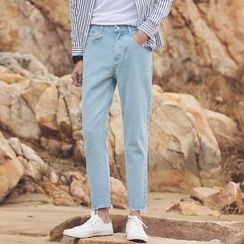 Arthur Look - Letter Embroidered Fray Jeans