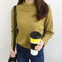 Seoul Fashion - Mock-Neck Pointelle Knit Top