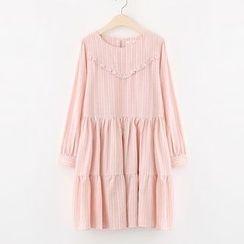Meimei - Shirred Frill Trim Long-Sleeve Dress