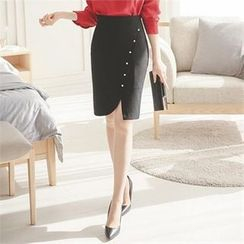 ode' - Button-Front Pencil Skirt