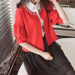 anzoveve - Elbow-Sleeve Knit Jacket