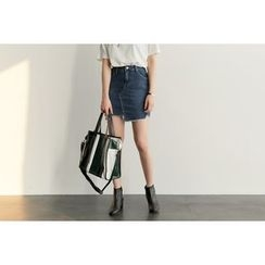 UPTOWNHOLIC - Frey-Hem Denim Skirt