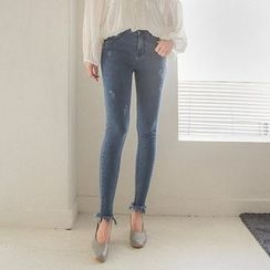 Seoul Fashion - Distressed Skinny Jeans