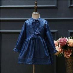 Rakkaus - Kids Long-Sleeve Fleece-Lined Denim Dress