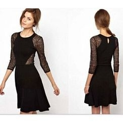 Persephone - Lace 3/4 Sleeve A-Line Dress