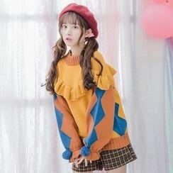 Moriville - Frill Trim Pompom Argyle Patterned Sweater