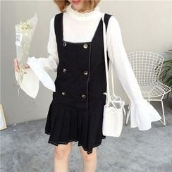 Mayflower - Pleated Hem Double Breasted Pinafore Dress