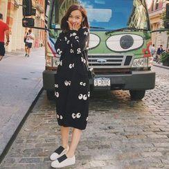 CHERJOE - Eye Print Midi Knit Dress