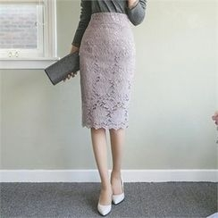 ode' - High-Waist Lace Pencil Skirt