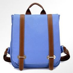 BeiBaoBao - Faux-Leather Contrast-Trim Belted Backpack
