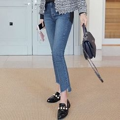 Seoul Fashion - Cutout-Hem Boot-Cut Jeans