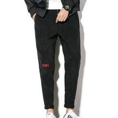 Weroni - Drawstring Slim Fit Corduroy Pants