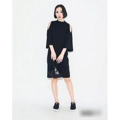 QZ Lady - Cutout Shoulder Bell-Sleeve Dress